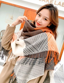 Fashion Geometric Striped Square Scarf Deep Khaki Striped Fringe Contrast Color Thick Warm Shawl Double-sided Scarf