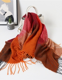 Fashion Geometric Striped Square Scarf Purple Striped Fringe Contrast Color Thick Warm Shawl Double-sided Scarf