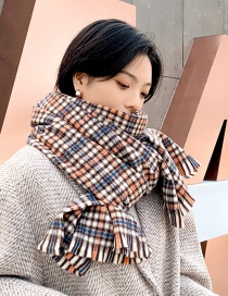 Fashion Mi Camel Small Lattice Fringed Cashmere Double-sided Thick Warm Scarf