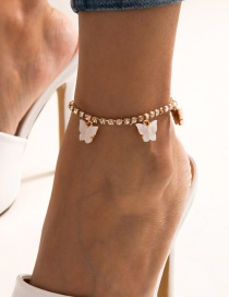 Fashion White Single Layer Tassel Claw Chain Diamond Small Butterfly Anklet