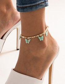 Fashion Green Single Layer Tassel Claw Chain Diamond Small Butterfly Anklet