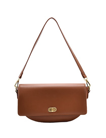 Fashion Yellowish Brown Solid Color Single Shoulder Crossbody Bag With Lock Flap
