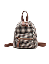 Fashion Brown Houndstooth Gera Chain Stitching Backpack