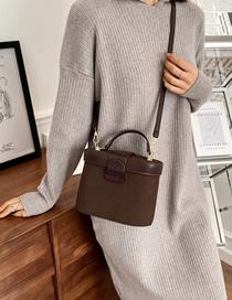 Fashion Brown Frosted Stitching Contrast Color Lock One Shoulder Messenger Bag