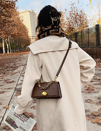 Fashion Brown Lock Flap Chain One-shoulder Cross Bag