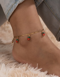 Fashion Red Small Cherry Fruit Diamond Tassel Anklet