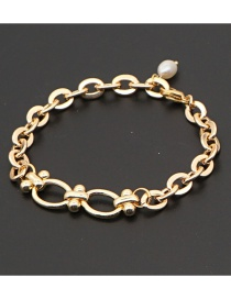 Fashion Gold Color 5 Smiley Geometric Stainless Steel Natural Freshwater Pearl Bracelet