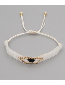 Fashion White Hand-woven Rice Beads Eye Bracelet