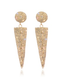 Fashion Golden Hollow Rhinestone Inverted Triangle Alloy Earrings