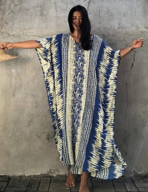 Fashion Yellow And Blue Snake Pattern Rayon Snake Print Robe And Sunscreen Blouse