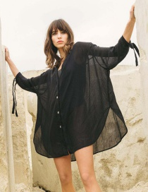 Fashion Black Cardigan With Slub Tie Split Shirt