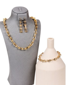 Fashion Golden Suit U-shaped Stitching Thick Chain Necklace Bracelet Earrings