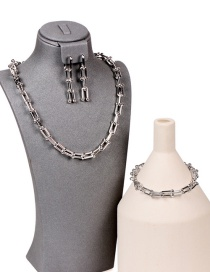 Fashion Platinum Suit U-shaped Stitching Thick Chain Necklace Bracelet Earrings