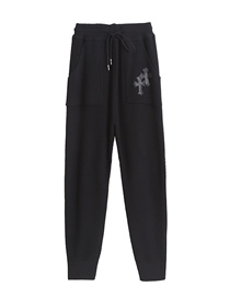 Fashion Black Cross And Leather Lace-up Knitted Trousers