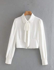 Fashion White Puffy Long-sleeved Shirt With Bow Tie