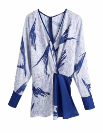 Fashion Blue Knotted Printed V-neck Long-sleeved Shirt