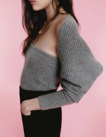 Fashion Gray Tube Top Solid Color Knitted Top