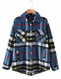 Fashion Plaid Woolen Check Single-breasted Loose Shirt