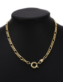 Fashion Golden Copper Inlaid Zircon Thick Chain Round Buckle Necklace