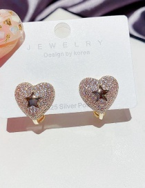 Fashion Golden Small Star Micro Inlaid Zircon Heart Earrings