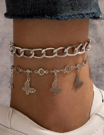 Fashion Silver Butterfly Pendant Hollow Alloy Multilayer Anklet