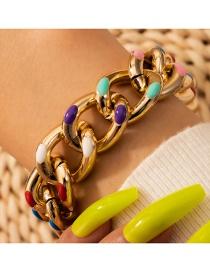 Fashion Golden Oil Drop Thick Chain Alloy Bracelet