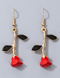 Fashion Red Rose Alloy Drip Earrings