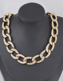 Fashion Golden Oval Ccb Diamond Thick Acrylic Chain Necklace
