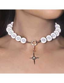 Fashion Silver Reflective Pearl And Glitter Diamond Cross Beaded Necklace