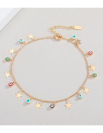 Fashion Gold Color Eyes Star Sequins Colorful Devils Eye Star Sequin Micro Inlaid Sun Anklet