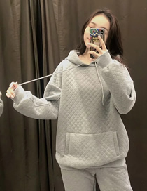 Fashion Gray Diamond Plaid Quilted Open Bag Hooded Pullover Sweater