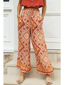 Fashion Orange Floral Positioning Printed Casual Pants