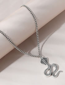 Fashion Silver Color Cobra Embossed Alloy Necklace
