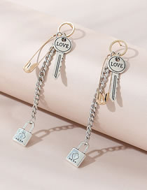 Fashion Silver Color Long Concentric Lock Key Alloy Tassel Stud Earrings