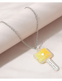 Fashion Yellow Love Letter Key Resin Sweater Chain