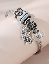Fashion Silver Color Butterfly Feather Glass Resin Alloy Bracelet