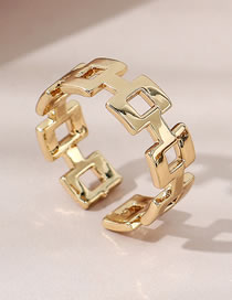 Fashion Gold Color Geometric Gold-plated Copper Openwork Ring