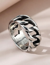 Fashion Silver Color Thick Chain Alloy Hollow Mens Ring