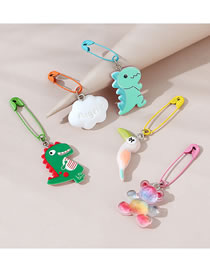 Fashion Color Mixing Frosted Spray Paint Resin Animal Brooch Set For Children