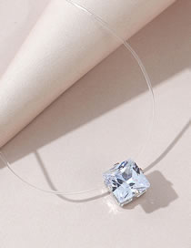 Fashion White Crystal Square Fishing Line Necklace