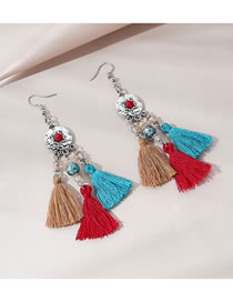 Fashion Color Mixing Tassel Round Bead Contrast Alloy Earrings