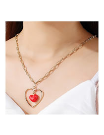 Fashion Gold Color Double Heart Acrylic Alloy Hollow Necklace