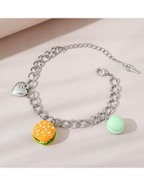Fashion Color Mixing Hamburg Love Resin Alloy Thick Chain Bracelet