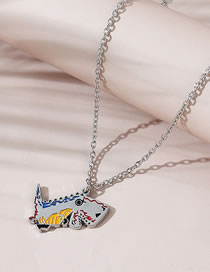 Fashion Silver Color Little Dinosaur Painting Oil Alloy Necklace