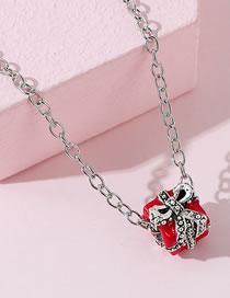Fashion Red Gift Package Oil Painting Bow Knot Diamond Necklace