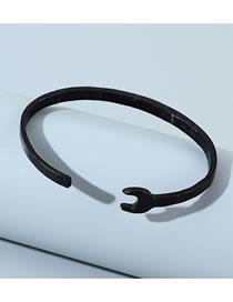 Fashion Black Wrench Opening Alloy Mens Bracelet