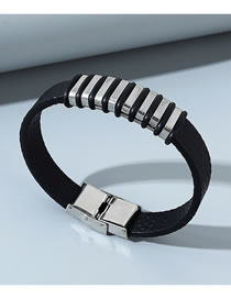 Fashion Black Alloy Geometric Leather Wide Brim Mens Bracelet
