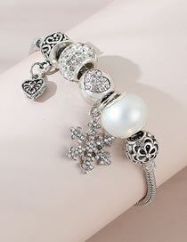 Fashion Silver Color Snowflake Diamond Pearl Love Alloy Bracelet
