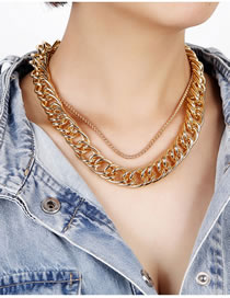 Fashion Gold Color Thick Chain Alloy Double Necklace