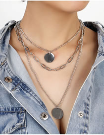 Fashion Silver Color Disc Alloy Multilayer Necklace